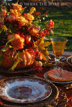 I'm joining Susan at Between Naps on the Porch for Tablescape Thursday~ I set a table for two outside taking advantage a serene lake in the background, with most of the recreational boaters h… Thanksgiving Blessings, Thanksgiving Tablescapes, Happy Thanksgiving, Harvest Time, Fall Harvest, Beautiful Table Settings, Fall Table, Decoration Table, Fall Halloween