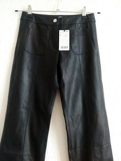 Pantalon crop similicuir Mango noir