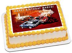 Hot Wheels Edible Birthday Cake Topper OR Cupcake Topper, Decor - Edible Prints On Cake (Edible Cake