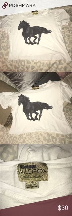 Wildfox Unicorn Cropped Tshirt Last name is crossed off of label- in very good condition Wildfox Couture Tops Tees - Short Sleeve