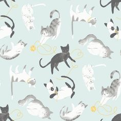 Here Kitty Kitty - Cat Soiree   Blue