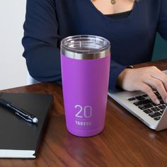 Thermotumbler 20 oz. Insulated Stainless Steel Purple Tumbler with Sip Lid