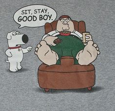 """graphic tee FAMILY GUY """"Sit Stay Good Boy"""" BRIAN dog PETER sz L (42-44) #FamilyGuy #GraphicTee"""