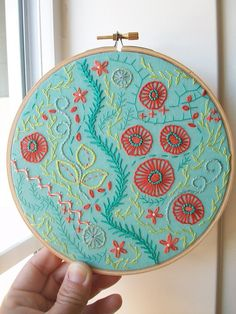 Always a fan of using wooden embroidery hoops as frames.