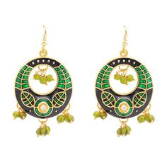 Green colour and attractive pearl earring. Occasion - Wedding Wear & Traditional Wear