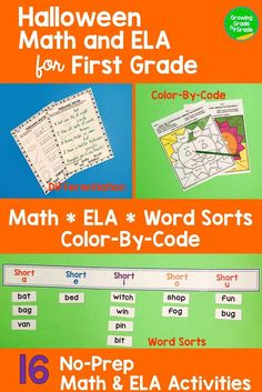 Give your firsties Math and ELA Halloween-themed fun! Color-by-code, word sorts, differentiation options, and more!