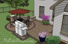 Small Courtyard Patio with Seat Wall | Patio Designs and Ideas...but make the circle lined in flagstone and filled with crushed gravel