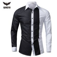 Men Shirt Long Sleeve 2016 Brand Shirts Men Casual Male Slim Fit Fashion Spell Color Chemise Mens Camisas Dress Shirts 4XL WEYOR(China (Mainland))