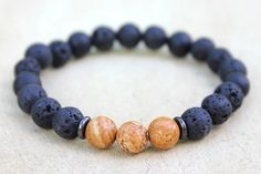 Grounding Mala Bracelet for Men Lava Rock Onyx by DharmaWoods