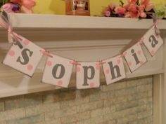 Pink and Gray Paper Pennant Garland- Wedding Reception Decor - Birthday Party Photo Prop -Kids Room Decor Bridal Shower Decoration. $9.75, via Etsy.