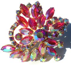 Vintage Jewelry Pink Rhinestone Brooch With Aurora by RibbonsEdge