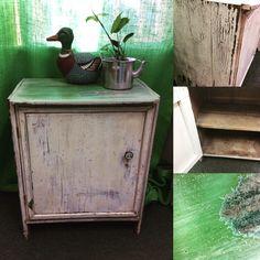 Antique timber food safe in green and linen Safe Food, I Shop, Kitten, Antiques, Green, Table, Furniture, Vintage, Home Decor