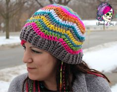The Glamour Hippie Hat is a great stash busting hat! The colors combinations are endless! The hat has a bit of a slouch to it, but can be shortened for a Beanie style or lengthened for a Super Slouch style! The fun zig-zag pattern will have everyone loving your Glamour Hippie Hat!