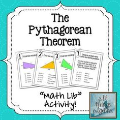 Math Lib Activity! - The Pythagorean Theorem