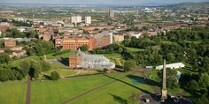 Aerial shot of Glasgow Green.