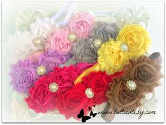 8 Shabby Flower headbands by tutticutesytutus on Etsy, $25.99