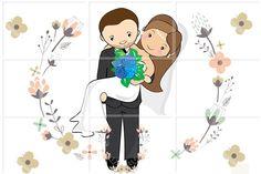 Desenho de noivinhos para lembranças de casamento, papelaria personalizada e outras aplicações.    Os mesmos são personalizados com características mais marcantes dos noivos, tais como: cor e estilo de cabelo, tom de pele, cor dos olhos, e cor da roupa.    Não temos a pretensão de criar desenhos ...