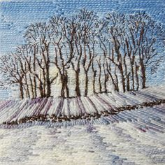 From Town End Flagg. Will be framed and on display at Sept. It's well worth seeing it in the flesh for the texture sparkle. So take a look in the window of 44 Market St New Mills. New Mills, Creative Textiles, Winter Images, New Saints, Snow Scenes, Winter Trees, Winter Landscape, Textile Art, Original Art