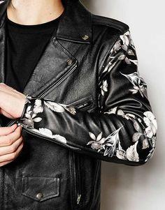Reclaimed Vintage Leather Biker Jacket With Printed Sleeves