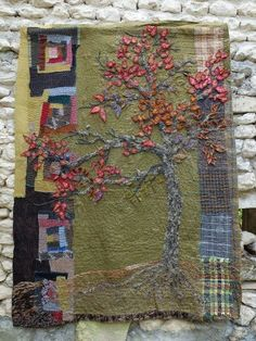 Textile art patchwork and embroidery.