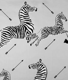 "Scalamandre ""Zebras"" wallpaper silver"