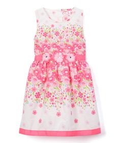Look what I found on #zulily! Vanilla & Pink Floral Ombré A-Line Dress - Infant, Toddler & Girls #zulilyfinds