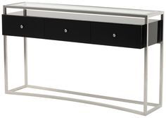 Glass Top Console Table With Drawers