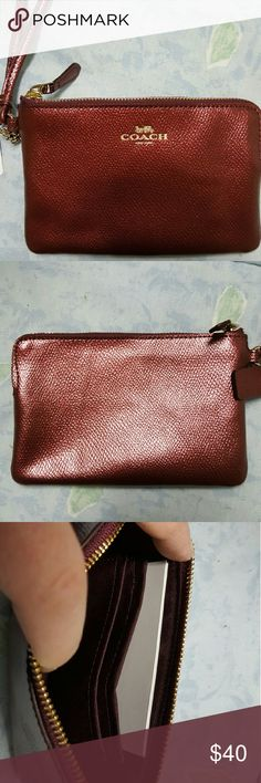 NWT coach small wristlet in metallic cherry NWT Coach small wristlet in metallic cherry. 2 credit card slots inside. Matche the patchwork blake bag in my closet! 6 x 4. Coach Bags Clutches & Wristlets