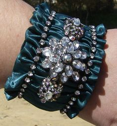 Victorian Goth Teal Large Cuff Bracelet by abrushofwings on Etsy