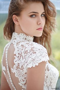 victoria f 2016 bridal high neck cap sleeves lace top with ribbon belt a line wedding dress closeup