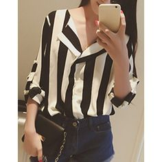 Wholesale Elegant Long Sleeve Turn-Down Collar Striped Women's Shirt Only $6.61 Drop Shipping | TrendsGal.com