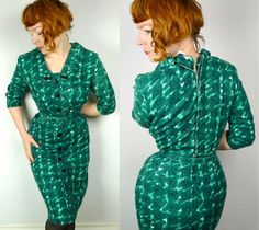 50s emerald GREEN belted dress chic WIGGLE by SartorialMatters