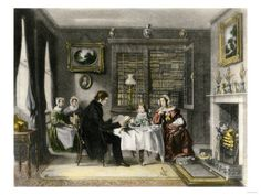 Morning Worship in a Victorian Family's Home Impressão giclée