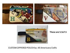 Zippered Bag Pencil Bag Makeup Pouch Quilted by Allamericanacrafts