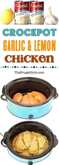 Crockpot Garlic Lemon Chicken Recipe!  It's like a little splash of cheerful citrus sunshine at dinnertime!  Just 5 ingredients! | TheFrugalGirls.com