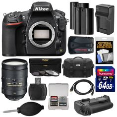 Nikon D810 Digital SLR Camera Body with 28-300mm VR Lens + 64GB Card + 2 Batteries/Charger + Case + GPS Adapter + Grip + Kit. KIT INCLUDES 15 PRODUCTS -- All BRAND NEW Items with all Manufacturer-supplied Accessories + Full USA Warranties:. [1] Nikon D810 Digital SLR Camera Body + [2] Nikon 28-300mm G VR AF-S Lens + [3] Nikon Digital SLR Camera Case +. [4] Transcend 64GB SDXC 300x Card + [5] Spare EN-EL15 Battery + [6] Additional Spare EN-EL15 Battery + [7] Battery Charger +. [8] 77mm...