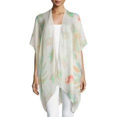Pool To Party By Subtle Luxury Palm Kimono Jacket ($18) ❤ liked on Polyvore featuring outerwear, jackets, cream, cream jacket, kimono jacket, fringe kimonos, cream kimono and fringe jackets