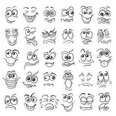 Illustration of Cartoon face Emotion set. Various facial expressions in doodle style isolated on white. vector art, clipart and stock vectors. Cartoon Faces Expressions, Drawing Cartoon Faces, Doodle Cartoon, Cartoon Eyes, Cartoon Cartoon, Cartoon Characters, Doodle People, Face Illustration, Character Illustration