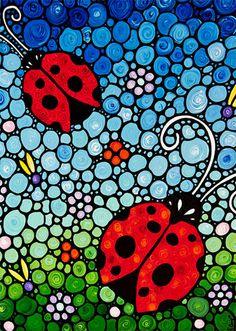 Ladybug arte imprimir de mariquitas de colores de pintura Bugs mariquitas rojas…