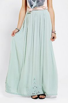 Pins And Needles Embroidered-Hem Maxi Skirt