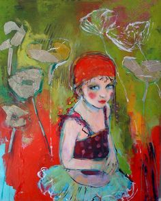 "Circus Girl And The newsprint Flowers- 11""x14"" Fine Art Reproduction by Maria Pace-Wynters."