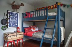 Camping-Themed Kid's Bedroom Makeover - Little Boy Bedroom Decorating Idea Boys Camping Room, Camping Bedroom, Camping Theme, Boys Bedroom Decor, Bedroom Themes, Bedroom Ideas, Lego Bedroom, Boy Decor, Bunk Beds