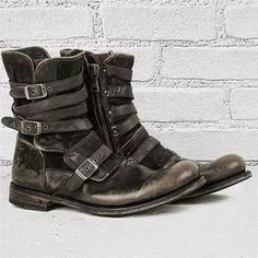 Men's Vintage Leather Mid Engineer Boots Combat Boots Dress, Ankle Boots Men, Dress With Boots, Leather Ankle Boots, Men's Boots, Mens Buckle Boots, Mens Biker Boots, Pu Leather, Leather Jacket