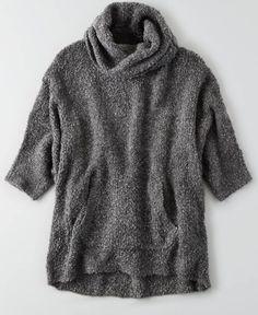 AEO Dolman Turtleneck Sweater, Women's, Heather Grey