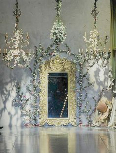 Raindrops and Roses — Runway at Dolce & Gabbana Fall 2012 Cabin In The Woods, Wedding Stage, Church Wedding, White Fashion, Women's Fashion, Interior Inspiration, Interior And Exterior, Lanterns, Backdrops