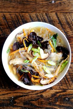 Shiitake Mushrooms & Sweet Potato Noodle Soup #vegan