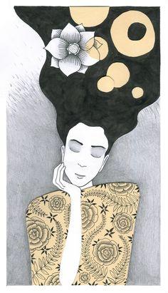 #žena#vlasy#krása#květina#sen#ilustrace#koláže#perokresba