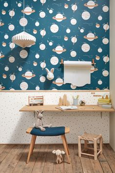 Look up to the universe and see wonderous planets orbiting across your walls in style! Order your sample today from WallpaperDirect Navy Wallpaper, Feature Wallpaper, Blue Wallpapers, Wallpaper Infantil, Boys Desk, Kids Room Design, Painted Paper, Our Planet, Color Azul