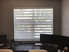 Home office with Zebra Illusion Privacy Shades Privacy Shades, Shades Blinds, Office Blinds, Home Office, Illusions, Curtains, Home Decor, Blinds, Decoration Home