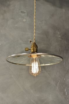 Vintage Industrial Pendant Lamp with Flat Mirror Reflector Shade - Antique Machine Age Factory Light
